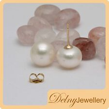 Brand New 14K Yellow Gold White Freshwater Pearl Stud Earrings 10.5-11mm Delny