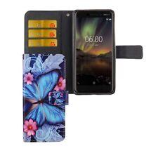 Nokia 6 2018 Hülle Case Handy Cover Schutz Tasche Flip Schutzhülle Bumper Blau