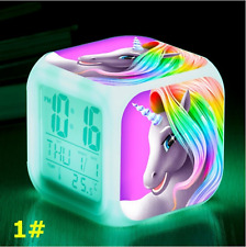 Unicorns and Rainbows Cartoon Alarm Clock Multi Color changing Effects