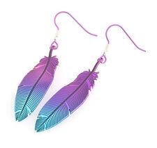 Lovebird Feather Titanium Pink Blue Drop Earrings