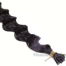 100 Deep Wave Curly I Stick Tip Micro Beads Remy Human Hair Extension Dark Brown