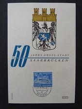 Saar Mk 1959 446 Saarbrücken primero etiquetas-tarjeta Carte maximum card mc cm a8022