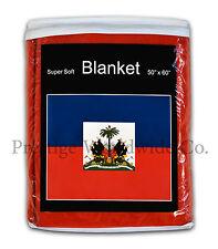 Haiti Flag Fleece Blanket *NEW* 5 ft. x 4.2 ft. Haitian Travel Throw Cover Gift