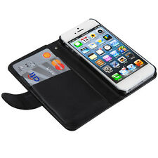 Apple iPhone 5 5S SE Leather Premium MyBat Wallet Case Pouch Flip Cover Black