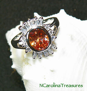 14K WHITE GOLD FILLED RING OVAL CUT MORGANITE GEM WHITE TOPAZ ACCENTS SIZE 7.75