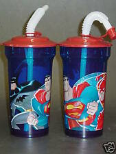 Justice League 16oz Plastic Tumbler with Lid (Lot of 2)