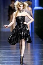 CHRISTIAN DIOR Runway Black Leather Bustier Dress 40
