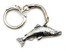 Salmon Fish Key-ring (keychain), Fine English Pewter, Handmade (tsh-L) Keyring
