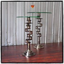 Continental AIRPLANE ENGINE AVIATION ART CRANKSHAFT INDUSTRIAL GLASS SIDE TABLE