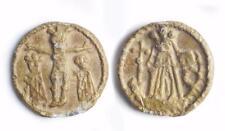 Medieval lead Pilgrims badge of the crucifixion scene 14th/15th century.