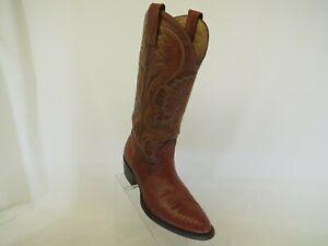 MONTANA Cognac Brown Lizard Leather Cowboy Western Boots Mens Size 9 D
