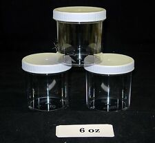 4oz to 16oz Clear Round Wide-Mouth Plastic Jars w/ Cap U-Pick Color, Size & Qty.