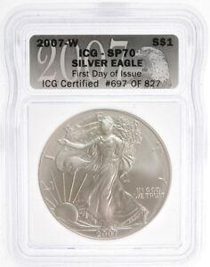 $1 American Liberty Silver Eagle 2007 W 1 Oz Fine US Mint Coin Igc Sp 70