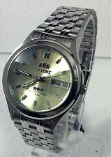 Orient Men's Faceted Crystal  Gold Dial Automatic Silver Watch   Box + Warranty