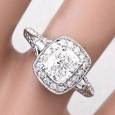Moissanite And Diamond Engagement Ring 1.70Ct 14K White Gold Cushion Forever One