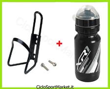 Portaborraccia + Borraccia in PE NERO 600 ml bici Mountain Bike Corsa Strada