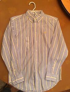 Polo Ralph Lauren Boys Size 14 Yellow Blue Stripe Shirt New Button Down Collar