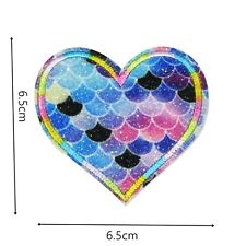 Heart  Scales Iron Patch Embroidered Cloth Badge Motif Patches Sea Iron On P461