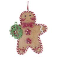 Gingerbread Man Cookie Holding Holly Wreath Christmas Tree Ornament