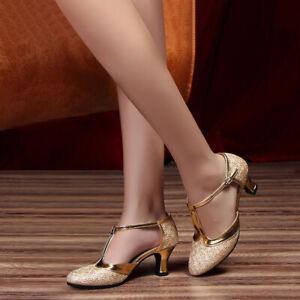 Womens Ladies Latin Dance Shoes Ballroom High Heels Tango Salsa Dance