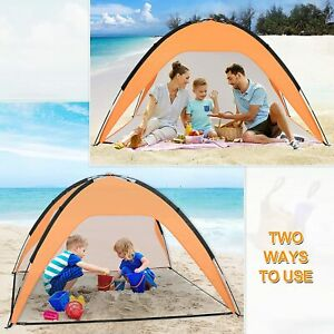 Beach Tent 3-4 Person Portable Beach Sun Shelter for UPF 50+UV Protection Canopy