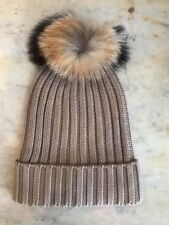 New Women's Taupe Racoon Fur Pom Pom Cable Knit Hat by Somerville Scarves