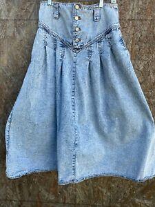 Vintage Jordache Denim studio Skirt 14  High Waist acid wash 80s 90s Jeans