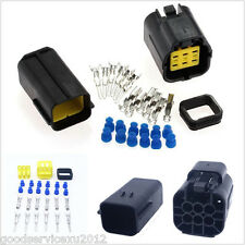 5 Sets Waterproof 6-Pin 20A Automotive AMP Electrical Sealed Wire Connector Plug