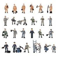 1X(25 Stueck Bemalte Figuren 1:87 Figuren Eisenbahner Miniaturen mit Eimer un DA