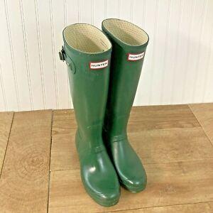 HUNTER Women's Sz 11 (10 M) Original Tall Wellies W23177 Green Rubber Rain Boots