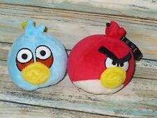 "Angry Birds 2 Clip On Lot Blue & Red Cardinal Bird  Plush Stuffed Animal 4"" long"