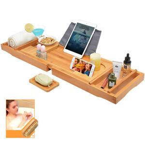 Badewannenbrett Badewannenablage ausziehbar - aus Bambus mit Nagelbürste