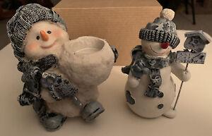 2 Snowmen- 1 Tea Light Candle Holder, 1 w/birdhouse & Let It Snow Sign - CERAMIC
