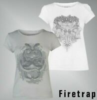 Ladies Firetrap Printed Graphic Crew Top Short Sleeves T Shirt Sizes 8-18