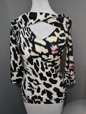 New NWT Guess Zia Keyhole Top Blouse Blue Green Black White Animal Print Small S