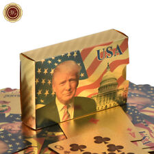 WR Waterproof Plastic Playing Cards Color Gold Foil Donald Trump Poker Deck Game