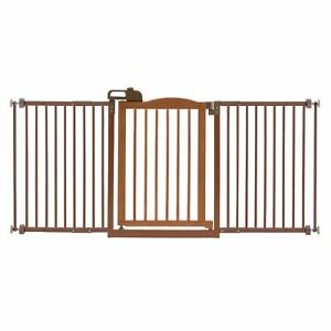 "Richell One-Touch Wide Pressure Mounted Pet Gate II Brown 32.1"" - 62.8"" x 2"" x 3"