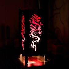 Thai/asiática de Madera/Papel Lámpara de mesita de noche: plantilla de papel de corte Dragón Rojo + Bombilla LED