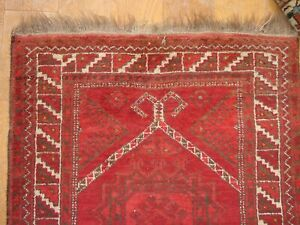 WONDERFUL ANTIQUE SMALL RAMSHORN ERSARI TURKOMAN PRAYERRUG  ***HG***