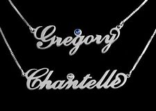 Personalised 925 Sterling Silver ANY NAME Necklace CZ Birthstone Box Chain Gift