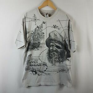 Lost Treasure T Shirt XL Extra Large Vintage Single Stitch Grey Black 90s Vtg