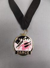 ballerina tap modern dance trophy award pink shoes enameled medal black ribbon