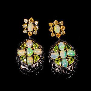 Jewelry SET Design Opal Earrings Silver 925 Sterling   /E45600