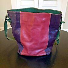 Furla Vintage Leather Bucket Drawstring Shoulder Bag Purse