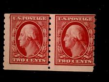U S stamps Scott 393 two cent Washington coil pair mint cv 260.00 D