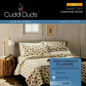 New Cuddl Duds Warm Layers Farmhouse Trucks Full Size Flannel Sheet Set