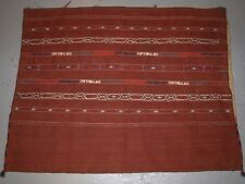 ANTIQUE TEKKE TURKMEN BANDED FLAT WOVEN CHUVAL, COMPLETE WITH BACK, CIRCA 1900.