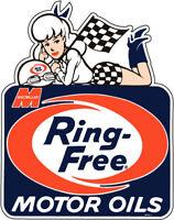 RING FREE MOTOR OILS MACMILLAN 9 1/8X7 7/8 IN. AUTO RACING HOT ROD DECAL STICKER