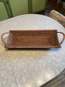 Pampered Chef Woven Selections Rectangular Wicker Wood Serving Basket Tray