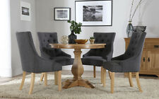 Cavendish Round Oak Dining Table and 4 Fabric Chairs Set (Duke Slate)